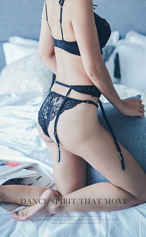 永恆眷戀 性感刺繡可調式吊襪帶 FREE anSubRosa - 黑色
