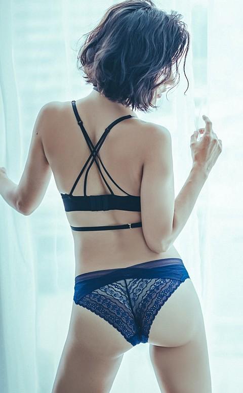 晨光初醒 親膚蕾絲美臀內褲 M-L anSubRosa - 深藍