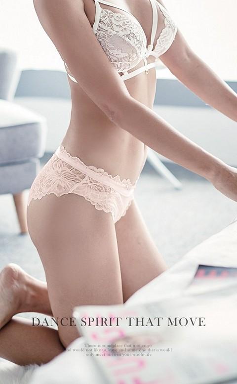 性感主宰  細緻歐式蕾絲內褲 M-L anSubRosa - 粉紅