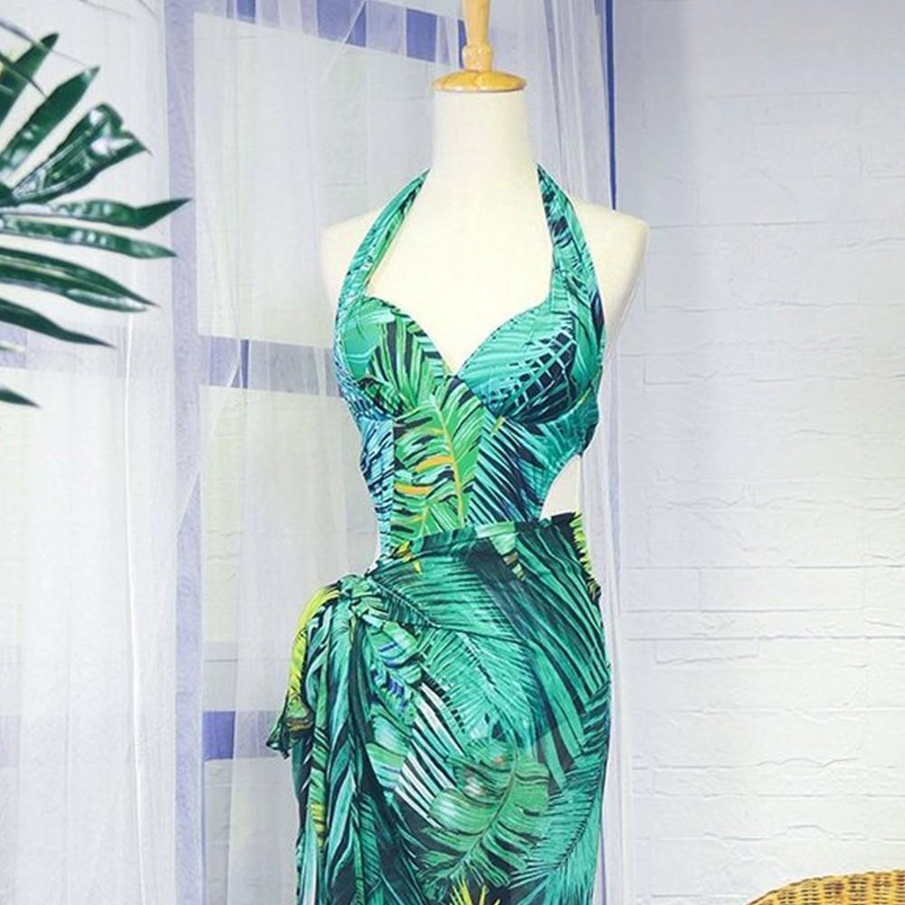 【首購免運費】熱帶森巴 挖腰式連身顯瘦兩件式泳衣 M-XL AINIA