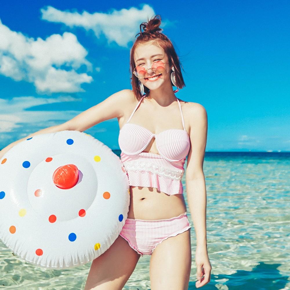 【首購免運費】向陽晨花 綁帶美背條紋兩件式泳衣 S-XL AINIA